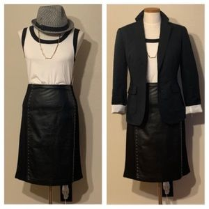 WHBM KNIT AND FAUX LEATHER SKIRT